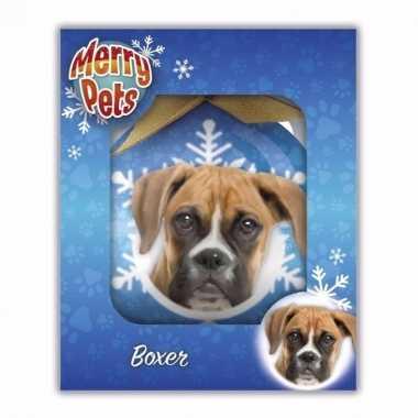 Plastic kerstbal boxer honden