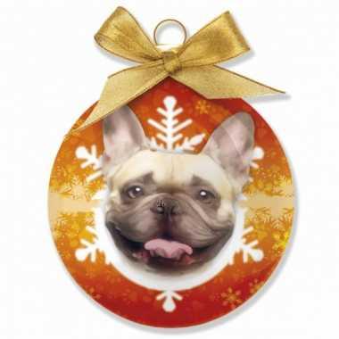 Plastic kerstbal franse bulldog oranje