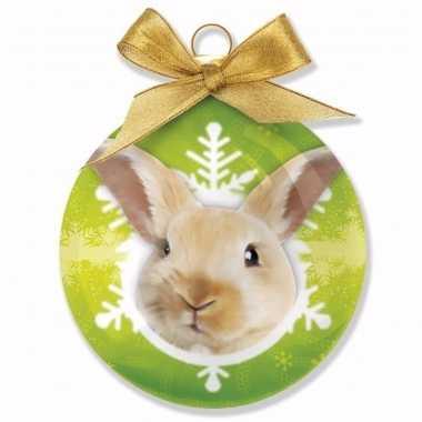 Plastic kerstbal konijntje