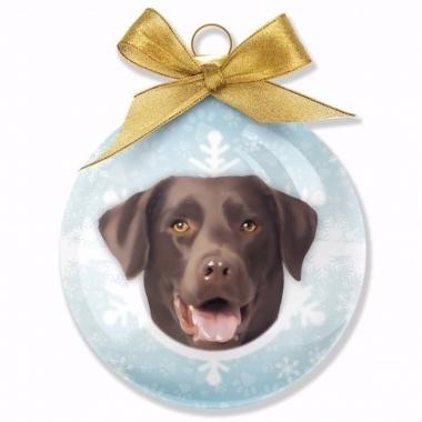 Plastic kerstbal labrador chocolate hond
