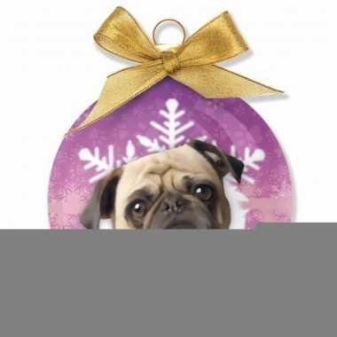Plastic kerstbal mops honden