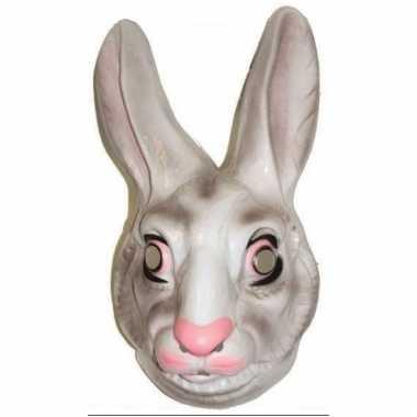 Plastic konijnen masker wit