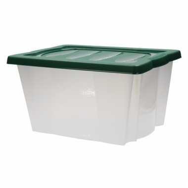 Plastic opbergdoos met groene deksel
