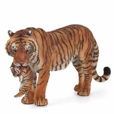 Plastic papo dier tijgerin met welpje