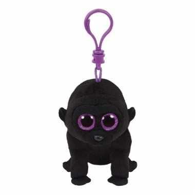 Pluche gorilla knuffel sleutelhanger george ty beanie 12 cm