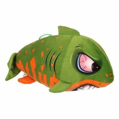 Pluche haai groen met oranje 24 cm