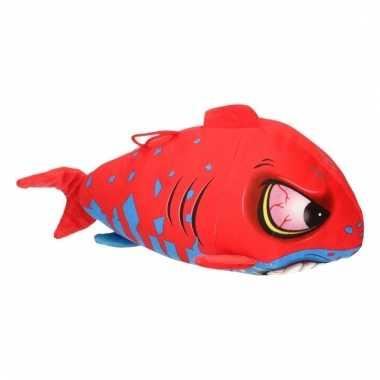 Pluche haai rood met blauw 24 cm