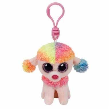Pluche hond/poedel knuffel sleutelhanger rainbow ty beanie 12 cm