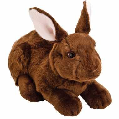 Pluche knuffel konijn/haas donkerbruin 35 cm