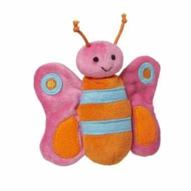 Pluche knuffeltje roze vlinder 10 cm