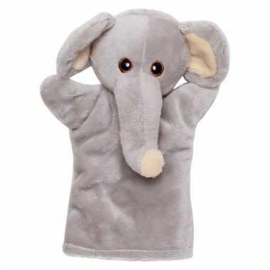 Pluche olifanten handpop 21 cm