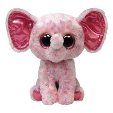 Pluche roze ty beanie olifant 24 cm