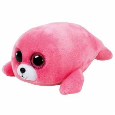 Pluche roze zeehond knuffel ty beanie 15cm