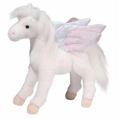 Pluche vliegend paard pegasus wit 30 cm