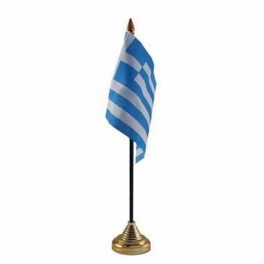 Polyester griekse vlag voor op bureau 10 x 15 cm