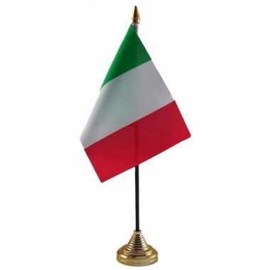 Polyester italiaanse vlag voor op bureau 10 x 15 cm