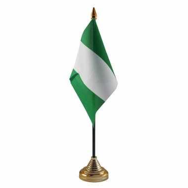 Polyester nigeriaanse vlag voor op bureau 10 x 15 cm