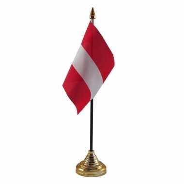 Polyester oostenrijkse vlag voor op bureau 10 x 15 cm