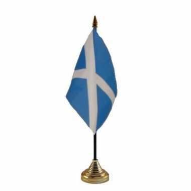 Polyester schotse vlag voor op bureau 10 x 15 cm