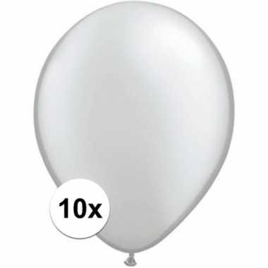 Qualatex metallic zilveren ballonnen 10 stuks