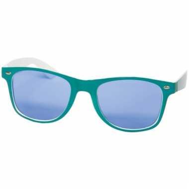 Retro bril petrol blauw/wit