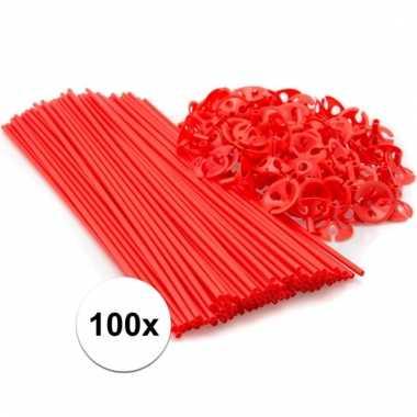 Rode ballonnenstaafjes/ballonnenstokjes 100 stuks
