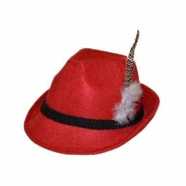 Rode bierfeest hoed met veer