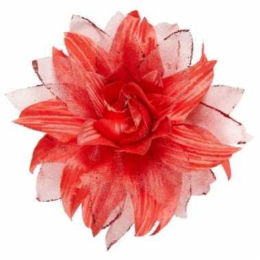 Rode bloem haarspeld met glitters