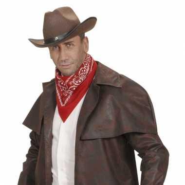 Rode cowboy bandana met print
