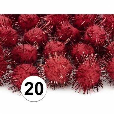 Rode decoratie pompons 20 mm