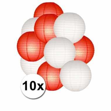Rode en witte feest lampionnen 10x