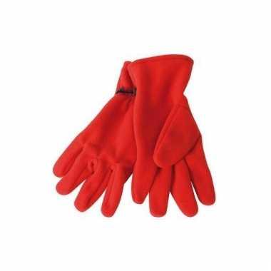 Rode fleece handschoenen voor dames en heren
