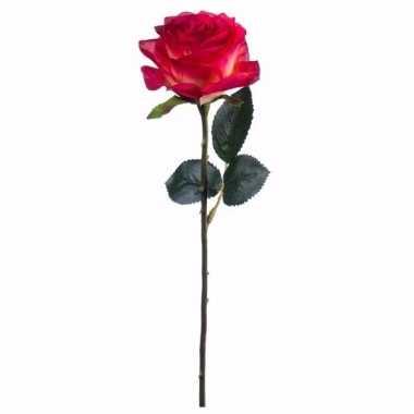 Rode/gele roos kunstbloem 45 cm