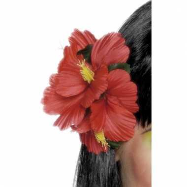 Rode haarbloem met clip