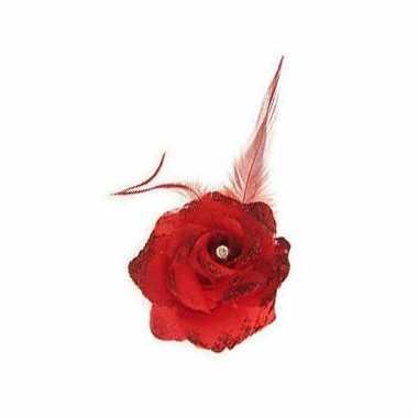 Rode haarbloem met elastiek