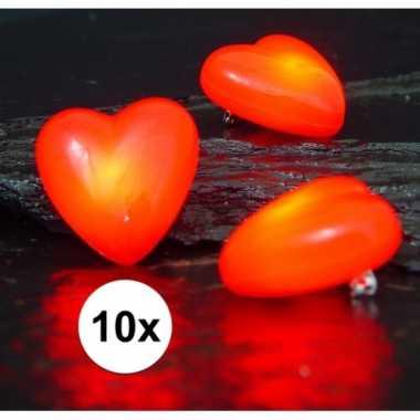 Rode harten broches 10 stuks met licht