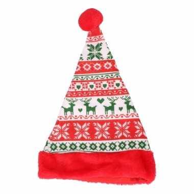 Rode kerstmuts voor tieners gebreid design