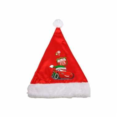 Rode kinder kerstmuts van cars