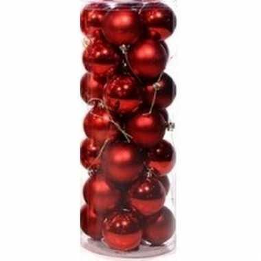 Rode mini kerstballen 28 stuks