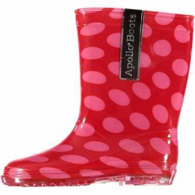 Rode regenlaarzen met gekleurde stippen voor kinderen