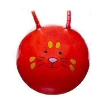 Rode skippybal met dieren gezicht 46 cm