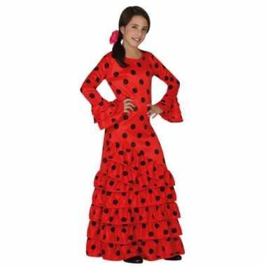 Rode traditionele spaanse jurk voor kids