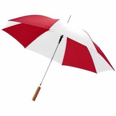 Rode/witte paraplu automatisch 82 cm
