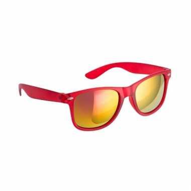 Rode zonnebril met spiegelglas