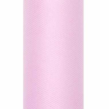 Rolletje tule stof lichtroze 15 cm breed