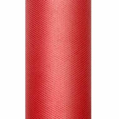 Rolletje tule stof rood 15 cm breed