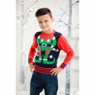 Rood/blauwe kerstmis trui met kerst elf voor kids