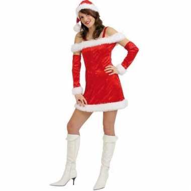 Rood fluwelen kerstjurkje voor vrouwen