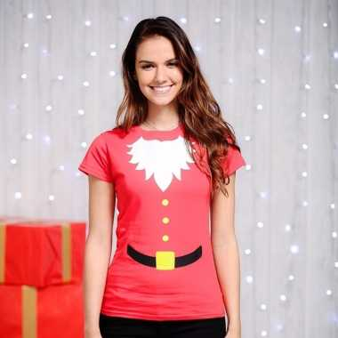 Rood kerst shirt korte mouw voor dames