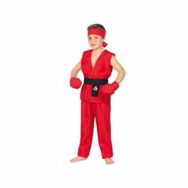 Rood kung fu kostuum voor kinderen